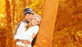 Loving couple in forest — Stock Photo