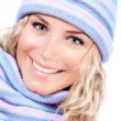 Happy girl in winter hat — Stock Photo
