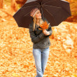 Pretty woman under umbrella — Stock Photo