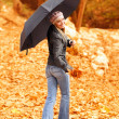 Young lady with umbrella — Stock Photo