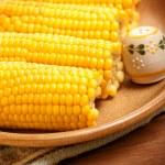 Corncob on the plate — Stock Photo