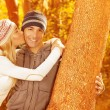Stock Photo: Happy couple in autumn park
