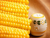 Sweetcorn with saltshaker — Stock Photo
