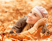 Female laying on the ground — Stock Photo