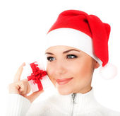 Santa girl with gift box — Stock Photo