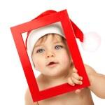Baby boy wearing Santa Claus hat — Stock Photo