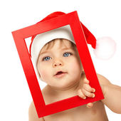 Baby boy wearing Santa Claus hat — Stock Photo