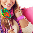 Stock Photo: Womeating sweet candy