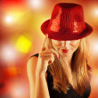 Woman wearing red hat — Stock Photo