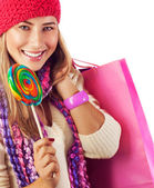 Woman lick lollipop — Stock Photo