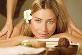 Beautiful woman on massage table — Foto Stock