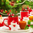 Stock Photo: Christmas table decoration