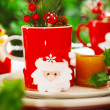 Christmastime decoration for dinner — Stock Photo