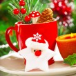 Stock Photo: Christmastime table decoration
