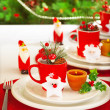 Winter holidays table setting — Stock Photo