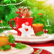 Stock Photo: Christmas eve table setting