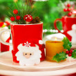Wintertime table setting — Stock Photo