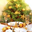 Romantic Christmastime dinner — Stock Photo