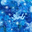 Blue Christmas tree background — Stock Photo