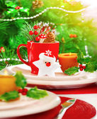 Christmas eve table setting — Stock Photo