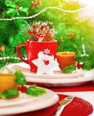 Christmas eve table setting — Stock Photo