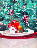 Christmas eve table decoration — Stock Photo