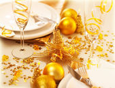 Christmastime table decoration — Stock Photo