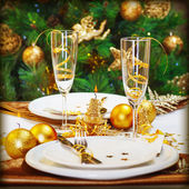 Christmas dinner in restaurant — Stock Photo