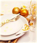 Luxury Christmas table decoration — Stock Photo
