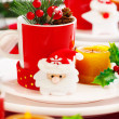 New Year table setting — Stock Photo