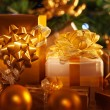 Golden gift boxes — Stock Photo