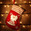 Red Christmas sock — Stock Photo #16217163