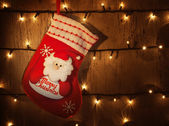 Traditional Christmas sock — Stock Photo