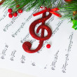 Christmas treble clef — Stock Photo #16249229