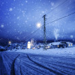 bufera di neve nel villaggio — Foto Stock