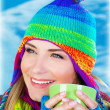 Beautiful girl drinking coffee — Stock Photo