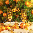 Christmas dinner in restaurant — Stockfoto