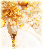 Golden table decoration — Stock Photo
