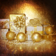 Stock Photo: Christmastime gift boxes