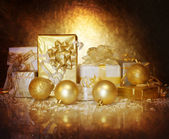 Christmastime gift boxes — Stock Photo