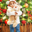 Little boy with teddy bear — Stock Photo