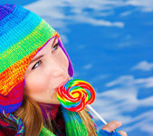 Woman with sugar candy — Stock Photo