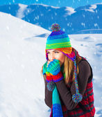 Female in winter mountains — Stock Photo