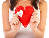 Red heart-shaped toy — Stock Photo