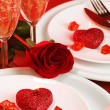 Valentine day table setting - Stock Photo