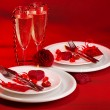 Red festive table setting — ストック写真