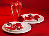 Red festive table setting — Stock Photo