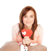 Woman with ted heart toy — Stock Photo