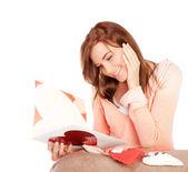 Woman reading love letter — Foto Stock