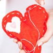 Red handmade heart — Stock fotografie
